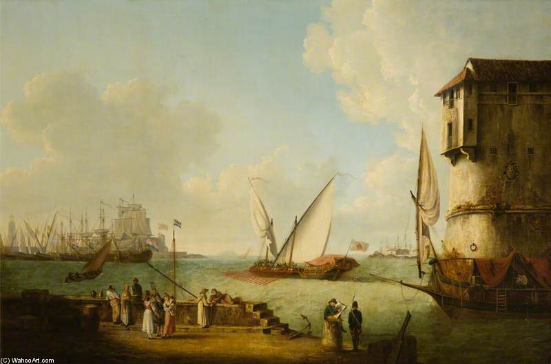 Port Of Leghorn With A Half Galley Of The Grand Duke Of Tuscany Putting Out To Sea by John Thomas Serres (1759-1825, United Kingdom)