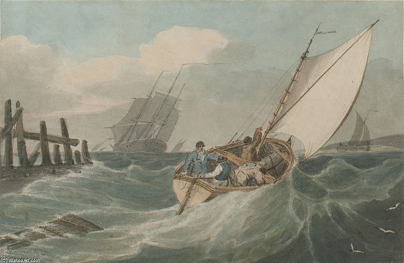 Putting Out To Sea In A Swell by John Thomas Serres (1759-1825, United Kingdom)