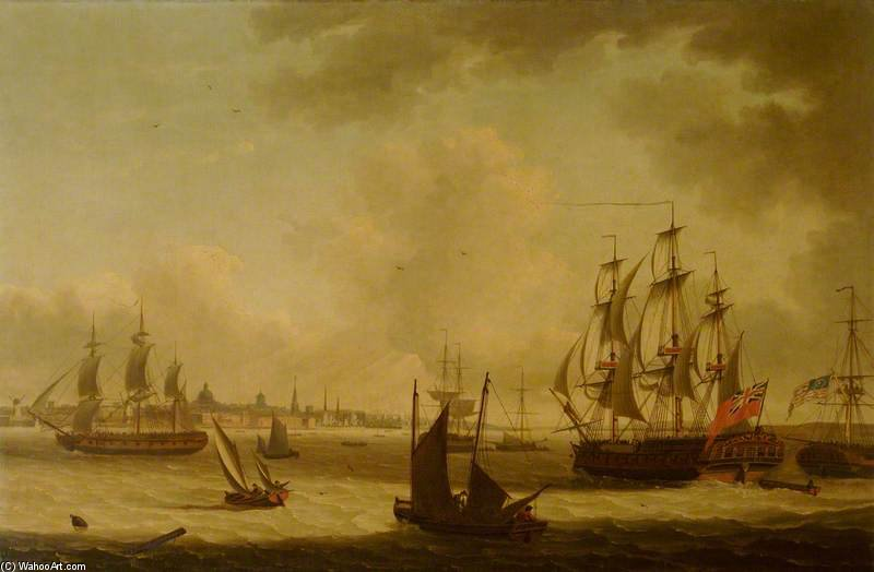 The 'pearl' Frigate Off Liverpool by John Thomas Serres (1759-1825, United Kingdom)
