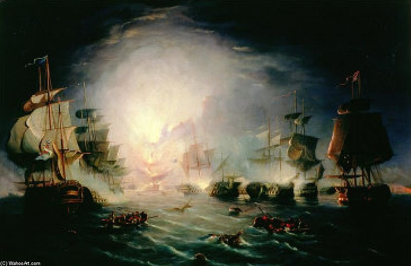 The Blowing Up Of The French Commander's Ship L'orient At The Battle Of The Nile by John Thomas Serres (1759-1825, United Kingdom)