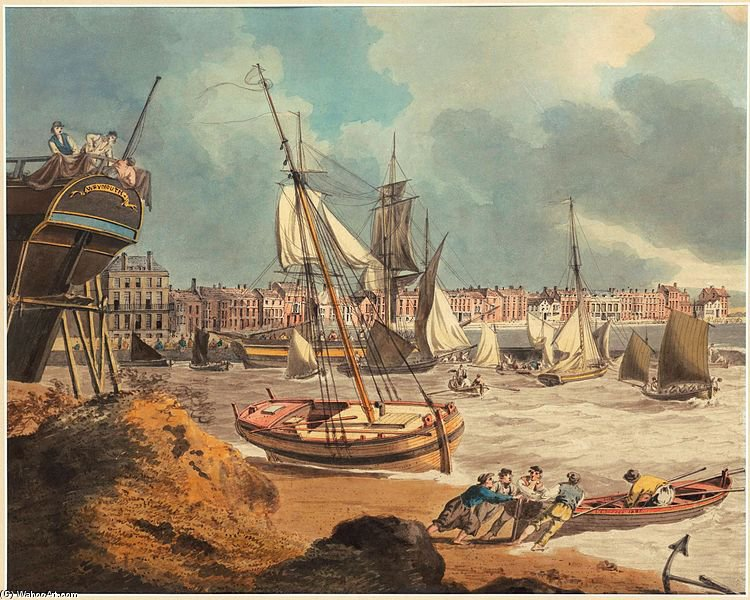 The Harbour At Weymouth by John Thomas Serres (1759-1825, United Kingdom)