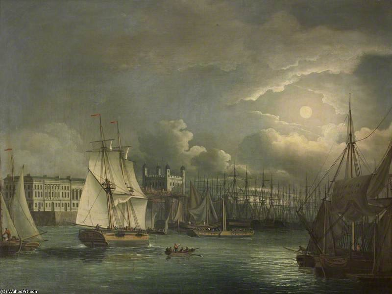The Pool Of London By Night by John Thomas Serres (1759-1825, United Kingdom)
