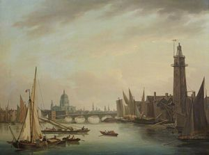 John Thomas Serres - The Thames With St Paul-s Cathedral, London