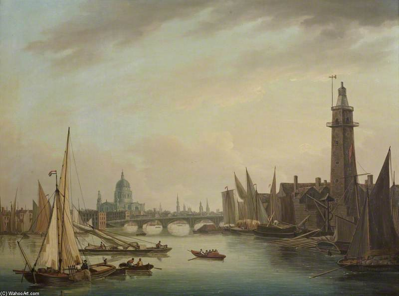 The Thames With St Paul's Cathedral, London by John Thomas Serres (1759-1825, United Kingdom)