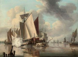 John Thomas Serres - The Trinity Yacht Firing A Salute, A View Of The Thames Estuary Beyond