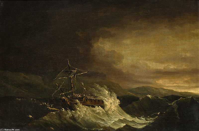 The Wreck Of The H.M.S. Deal Castle Off Puerto Rico by John Thomas Serres (1759-1825, United Kingdom)