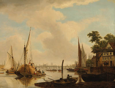 View Of London Bridge With A Hay Barge In The Foreground by John Thomas Serres (1759-1825, United Kingdom)