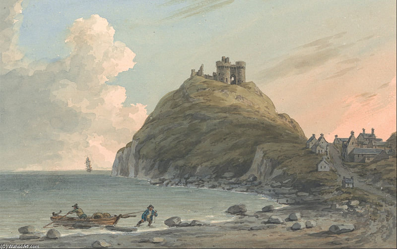 Order Reproductions | Ruins Of Cricceith Castle And Part Of The Town On The Bay On Cardigan by John Warwick Smith (1749-1831, United Kingdom) | WahooArt.com
