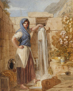 Joshua Cristall - A Welsh Girl At A Fountain, Barmouth, Wales