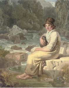Joshua Cristall - A Welsh Peasant Girl, Dolgelly, Merionethshire