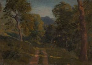 Joshua Cristall - Wooded Landscape With Farm Track