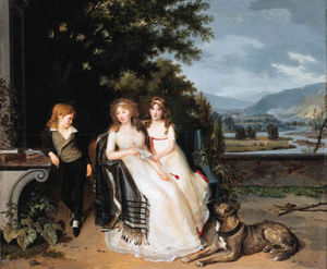 Louis Gauffier - Portrait Of A Lady With Two Children And A Dog On A Terrace, An Extensive River Landscape Beyond