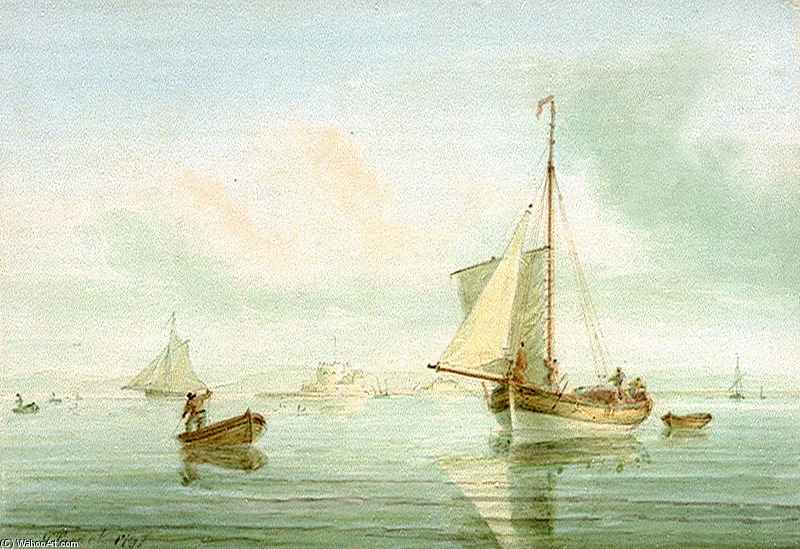 Order Art Reproduction : A Cutter Off Calshot Castle by Nicholas Pocock (1740-1821, United Kingdom) | WahooArt.com