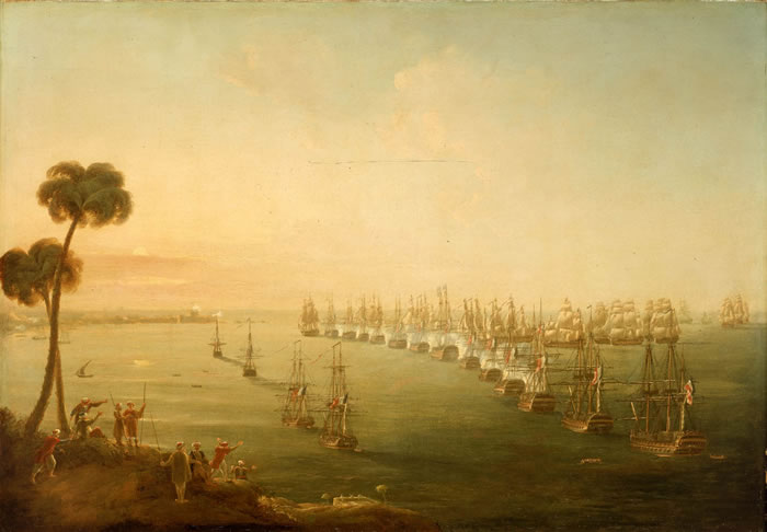 Battle Of The Nile by Nicholas Pocock (1740-1821, United Kingdom) | Famous Paintings Reproductions | WahooArt.com