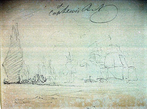 Nicholas Pocock - Sketch Of A Battle ^ Early Ships Off Madeira On Reverse