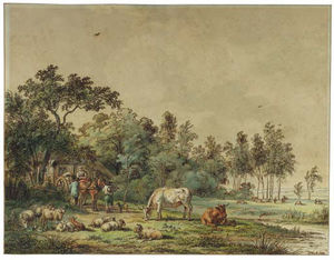 Pieter Gerardus Van Os - A Wooded Landscape With Peasants And Cattle By A Farm
