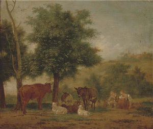 Pieter Gerardus Van Os - A Young Couple Resting Under A Tree With Animal Companions