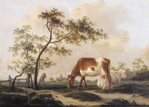 Pieter Gerardus Van Os - Cows On A Farmyard With A Village In The Distance, In Summer
