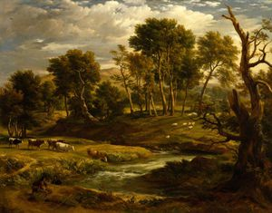 Order Famous Paintings Reproductions : Landscape With Cattle by Ramsay Richard Reinagle (1775-1862, United Kingdom) | WahooArt.com