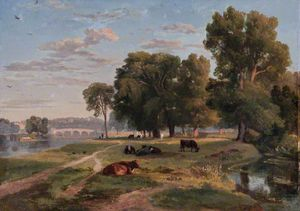 Ramsay Richard Reinagle - The Thames At Richmond From The Middlesex Bank, Looking Towards Richmond Bridge