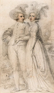 Richard Cosway - Portrait Of Sir James Hamlyn, 1st Bt. And His Wife Miss Williams, Full-length