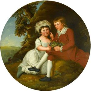 Robert Edge Pine - Portrait Of A Boy And A Girl With A Basket Of Fruit In A Landscape