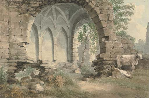 Cattle Grazing By Easby Abbey, Yorkshire by Samuel Howitt (1756-1822, United Kingdom) | Art Reproductions Samuel Howitt | WahooArt.com