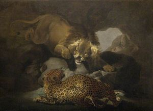 Order Art Reproductions | Lion And Leopard by Samuel Howitt (1756-1822, United Kingdom) | WahooArt.com