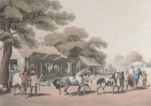 Samuel Howitt - Sices, Or Grooms, Leading Out Horses; A Tiger Prowling Through A Village
