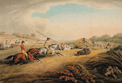 The Chase After The Hog; And The Hog At Bay by Samuel Howitt (1756-1822, United Kingdom) | Art Reproductions Samuel Howitt | WahooArt.com
