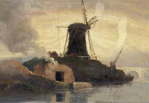 Samuel Owen - Windmill And Brick Kiln On Riverside