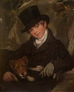 William Beechey - Portrait Of An Unknown Boy In A Black Top Hat, With A Dog