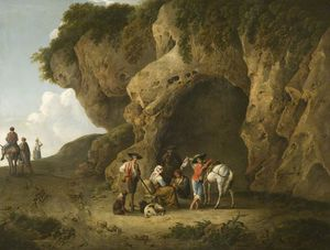 Thomas Barker - Cavern Scene Near Subiaco, With Figures