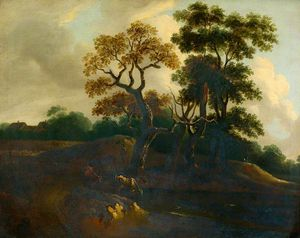 Thomas Barker - Landscape And Cattle At A Pool