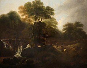 Thomas Barker - Landscape With A Waterfall