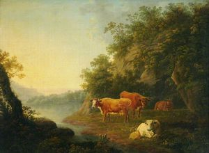 Thomas Barker - Landscape With Cattle -