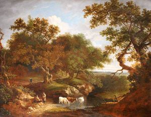 Thomas Barker - Landscape With Cattle Watering And Rustics