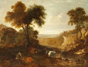 Thomas Barker - Landscape With Figures And Cattle