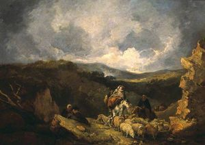 Thomas Barker - Landscape With Figures And Sheep