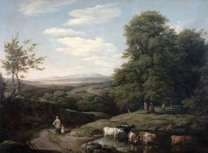 Thomas Barker - Landscape With Wooded Scene And Cattle