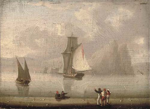 A Royal Naval Cutter Heading Into Gibraltar by Thomas Buttersworth (1768-1842, United Kingdom)