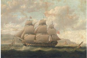 Thomas Buttersworth - A Royal Naval Three-decker Running Past A Spanish Fortress During The Napoleonic Blockade