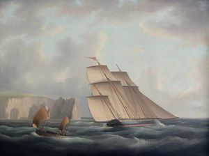 Thomas Buttersworth - A Three-masted Lugger Off The Needles
