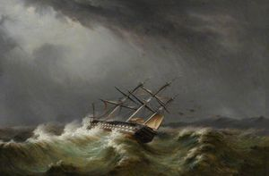 Thomas Buttersworth - Gun Ship In A Storm