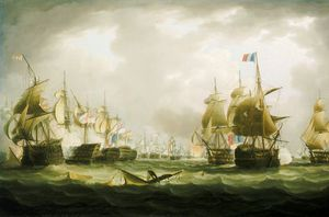 Thomas Buttersworth - The Battle Of Trafalgar, Beginning Of The Action -
