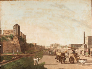 Thomas Daniell - The Old Fort, The Playhouse, Holwell's Monument From Views Of Calcutta