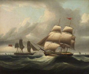 Thomas Luny - A Merchantman Hove To, With A Pilot Cutter Going Off