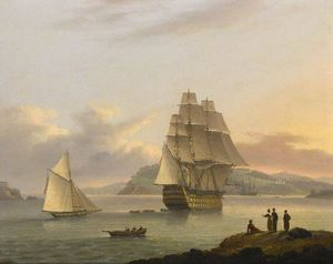 Thomas Luny - A Ship Of The Line Off Plymouth, Devon