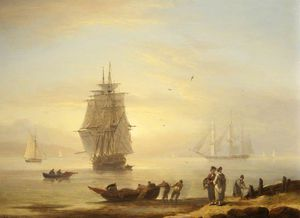 Thomas Luny - Men-o--war And Figures On The Shore At Teignmouth