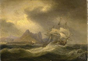 Thomas Luny - Shipping In Rough Seas